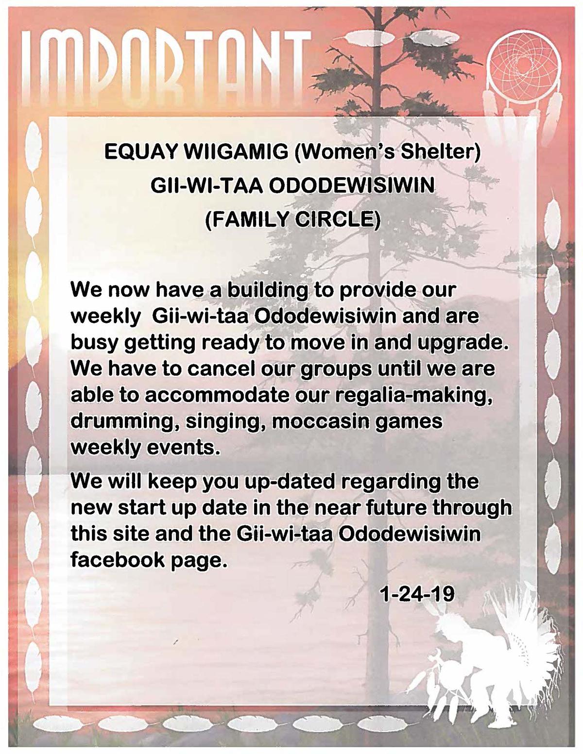 Gii Wi Taa Ododewisiwin – Family Circle