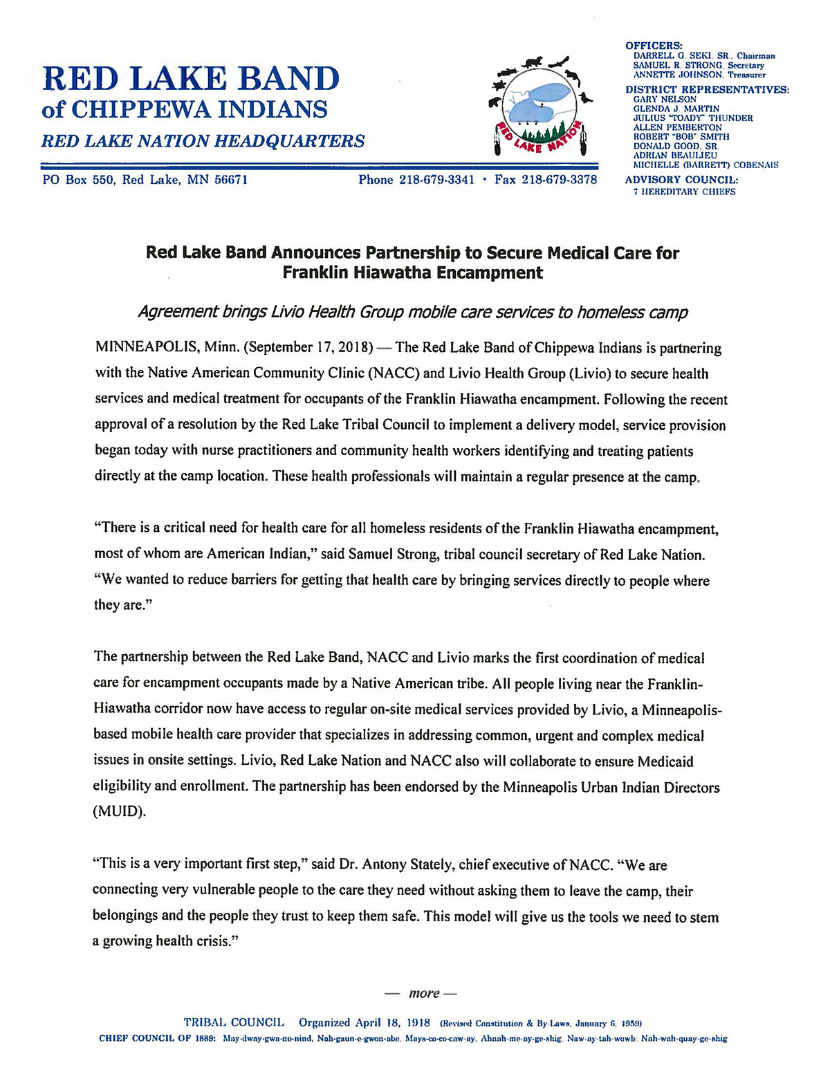 Red Lake Band Announces Partnership to Secure Medical Care for Franklin Hiawatha Encampment