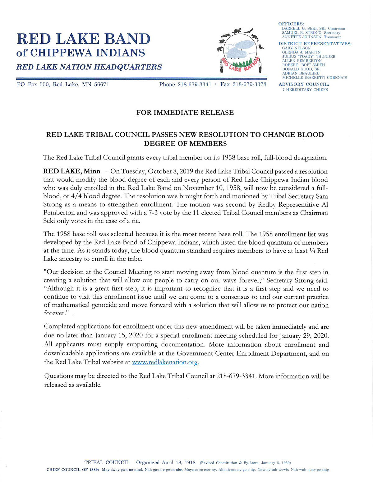 Red Lake Tribal Council Passes New Resolution to Change Blood Degree of Members