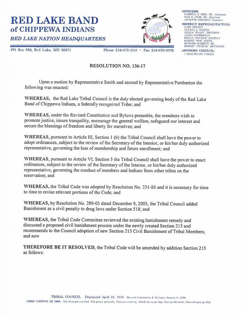 Resolution 136-17 - Chapter 215 Civil Banishment of Tribal Members