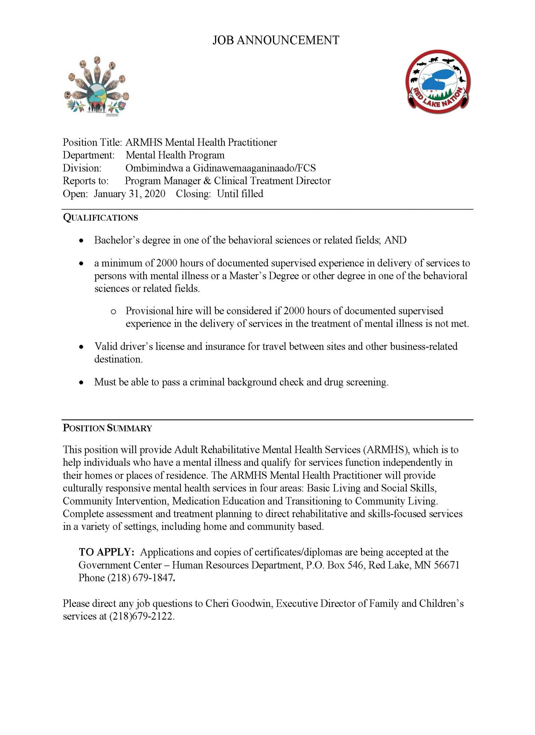 ARMHS Mental Health Practitioner-FCS- Job Posting 1-30-2020