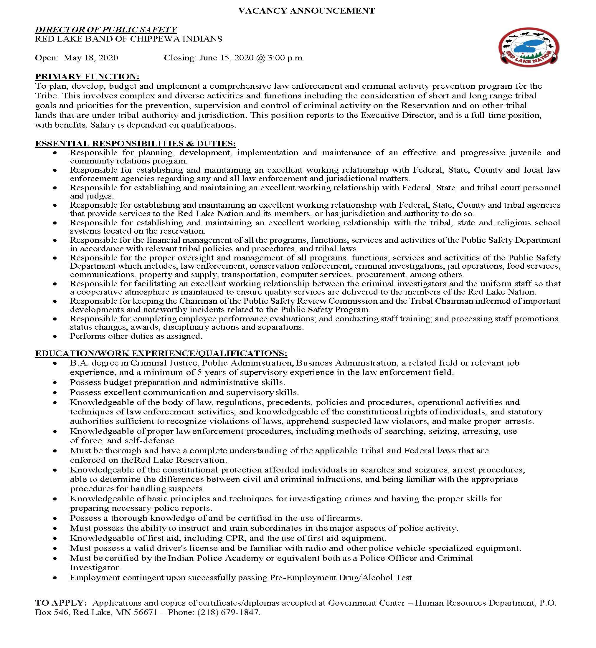 Director of Public Safety-RLBCI-Job Announcement-5-18-2020