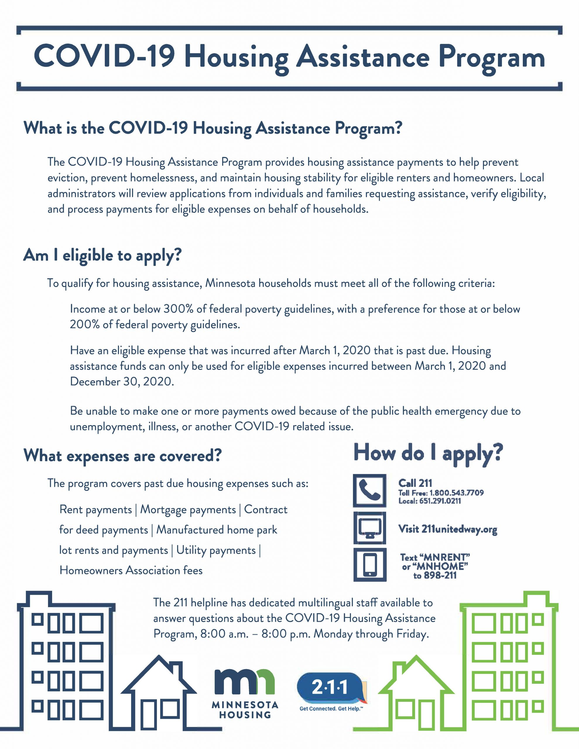 COVID-19 Housing Assistance Program One Pager