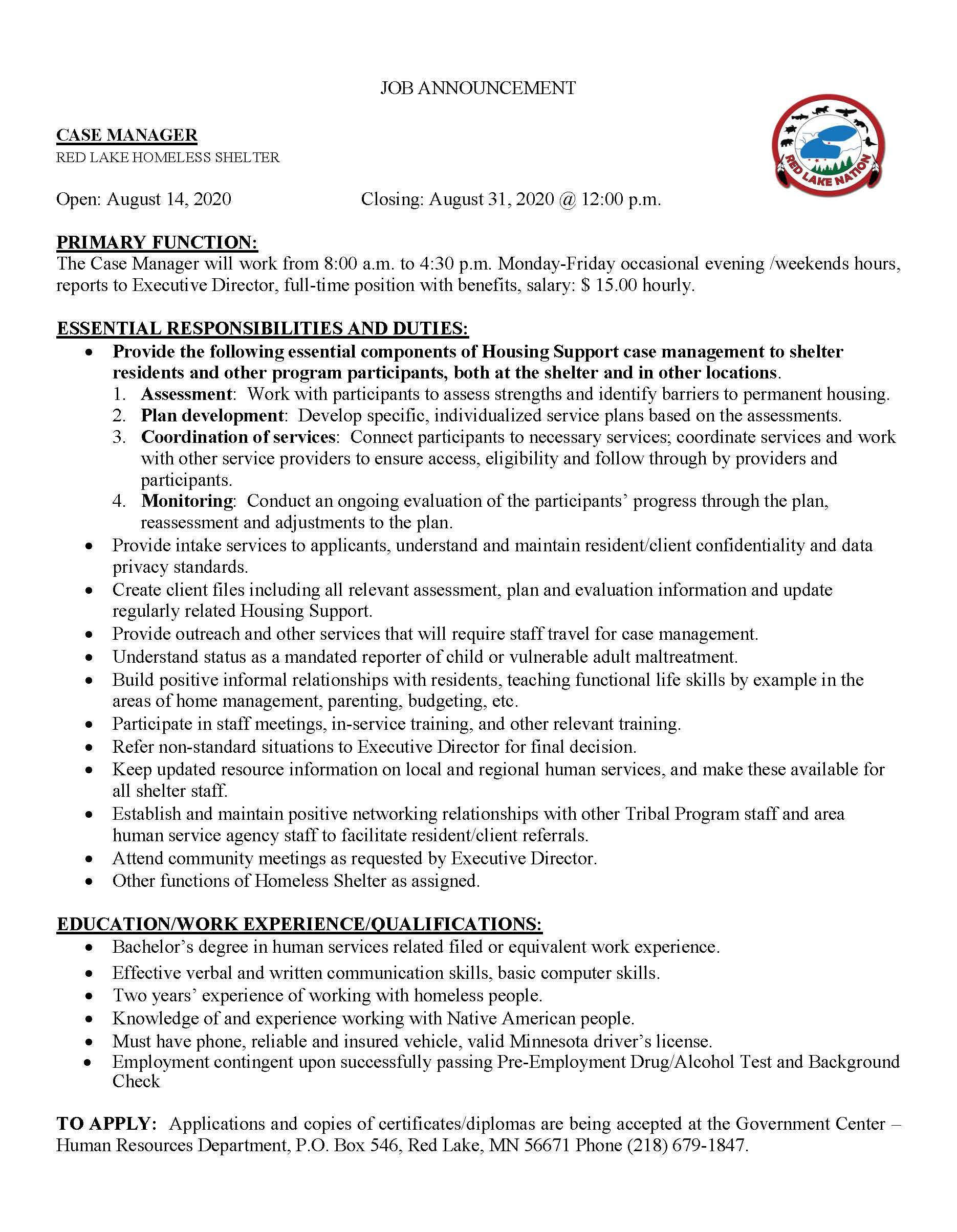 Case Manager-FT Housing Support-RL Homeless Shelter-job posting 8-14-2020