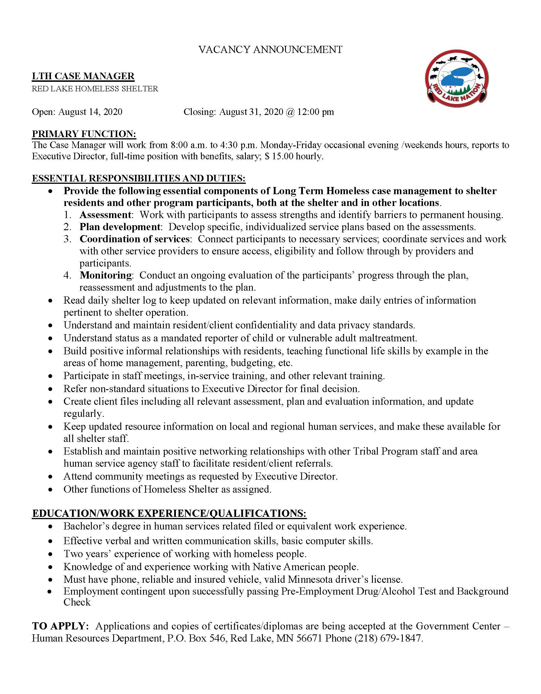 LTH-Case Manager-Homeless Shelter-job posting 8-14-2020