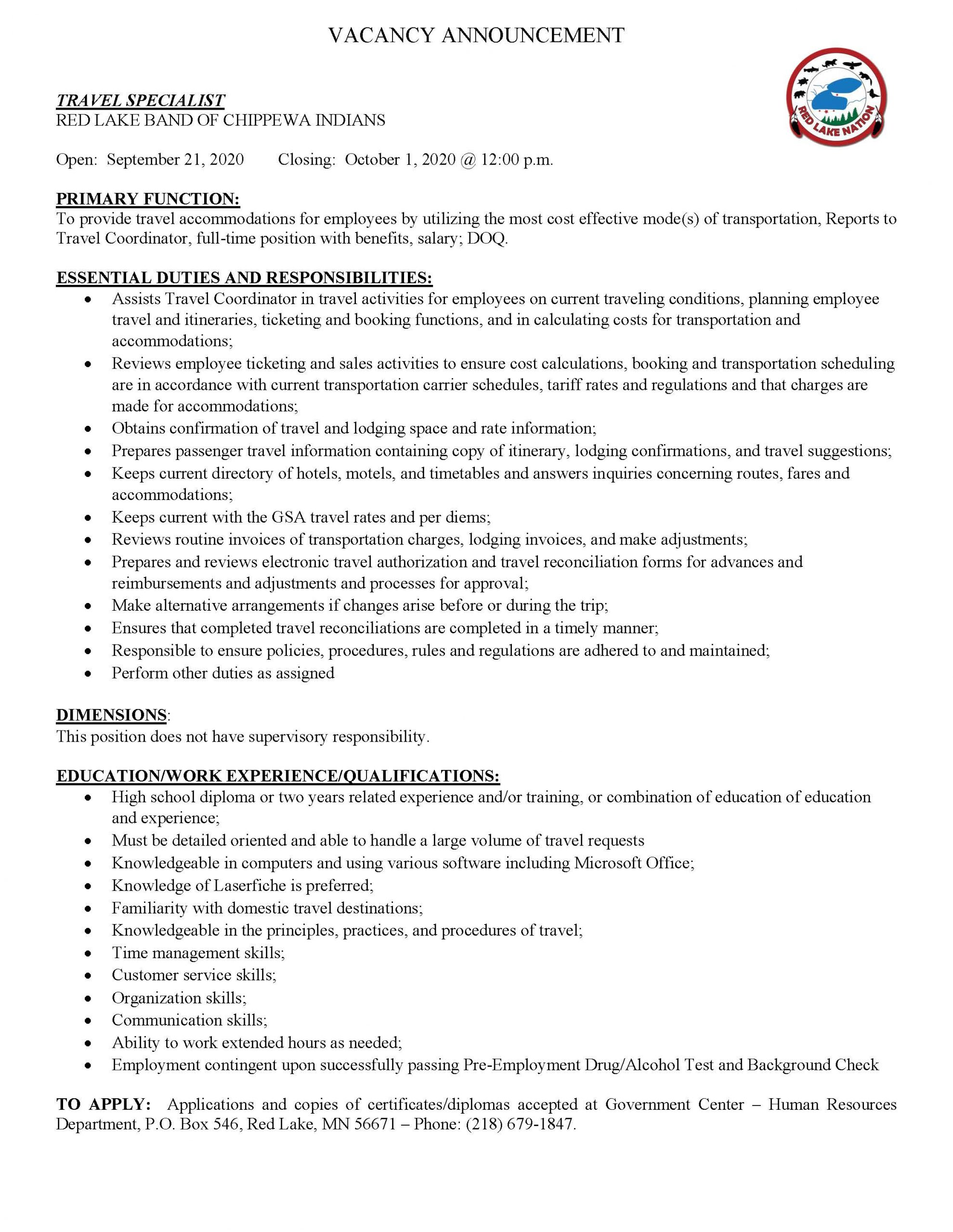 Travel Specialist-Red Lake Band Chippewa Indians Job Posting-9-14-2020