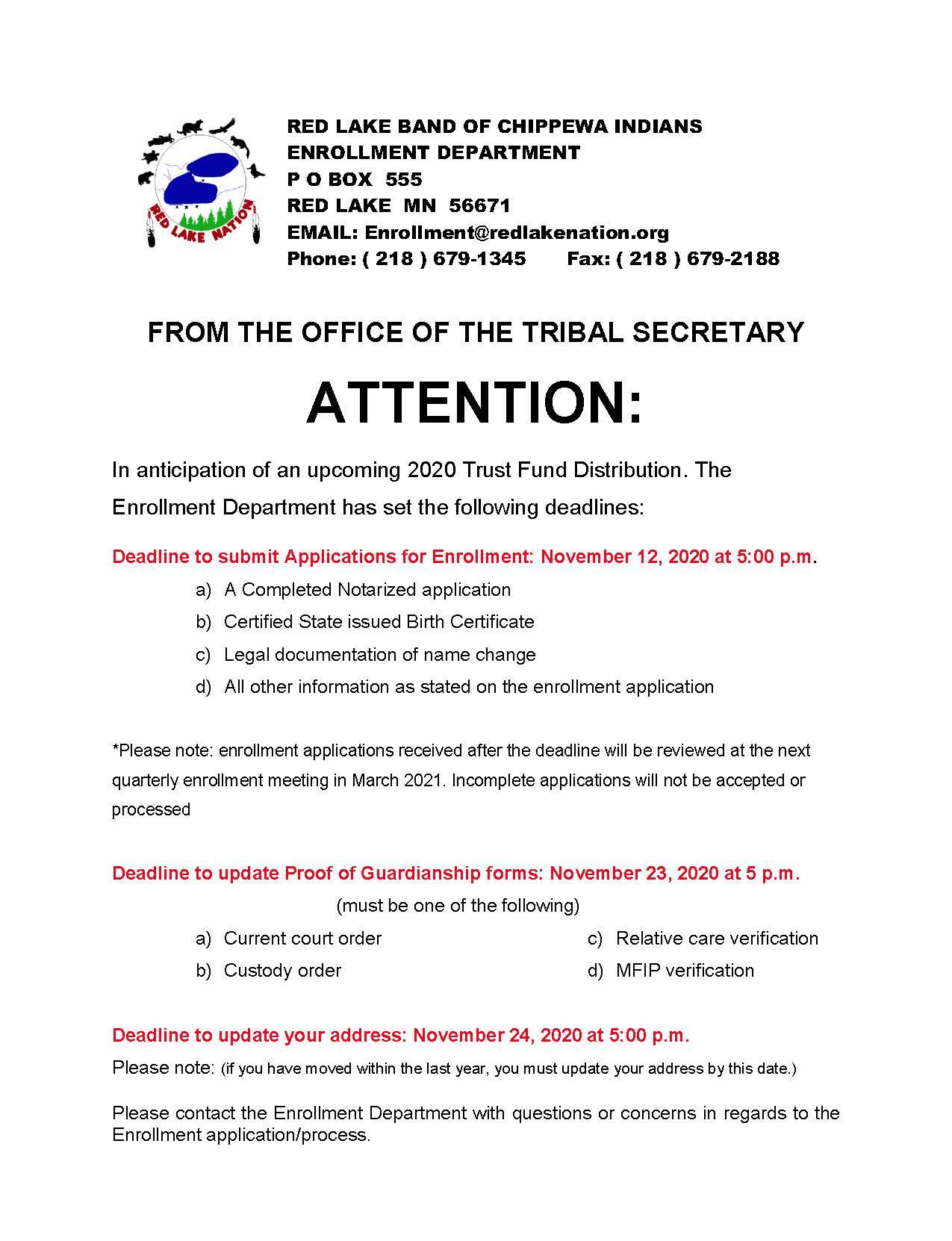 Enrollment deadlines 2020