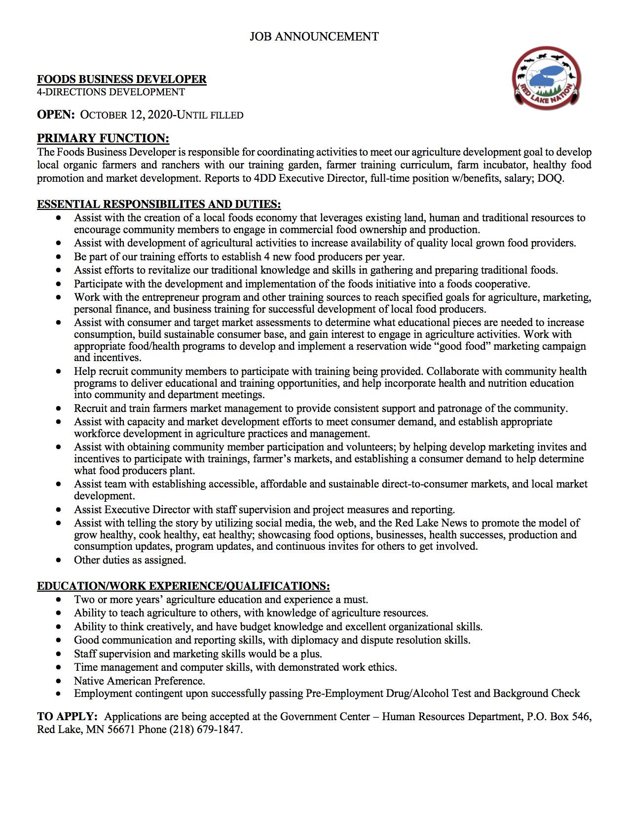 Foods Business Developer-4 DirectionsDevelopment-Job Posting-10-12-2020