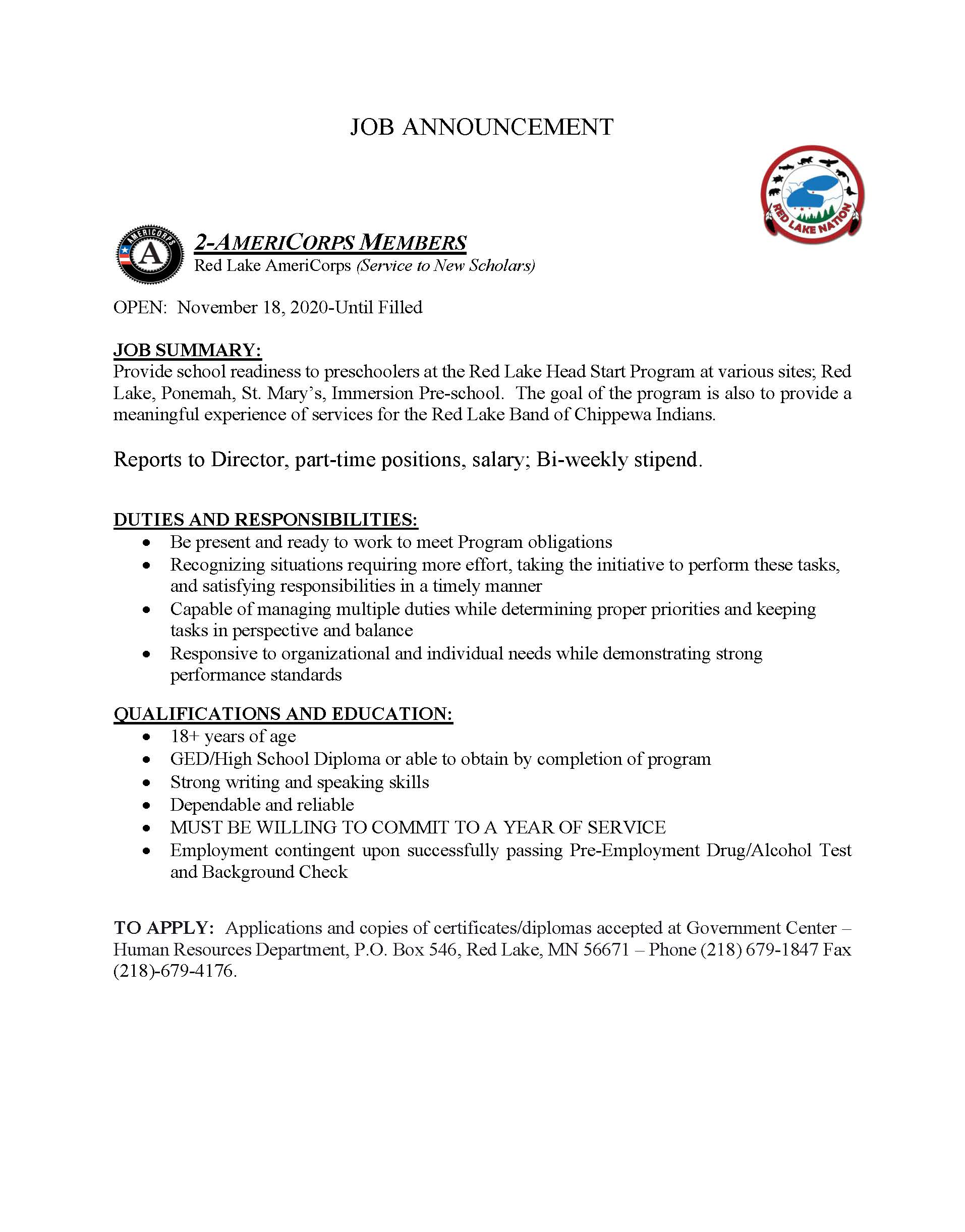 2-AmeriCorps Scholars-Job Posting-11-18-20