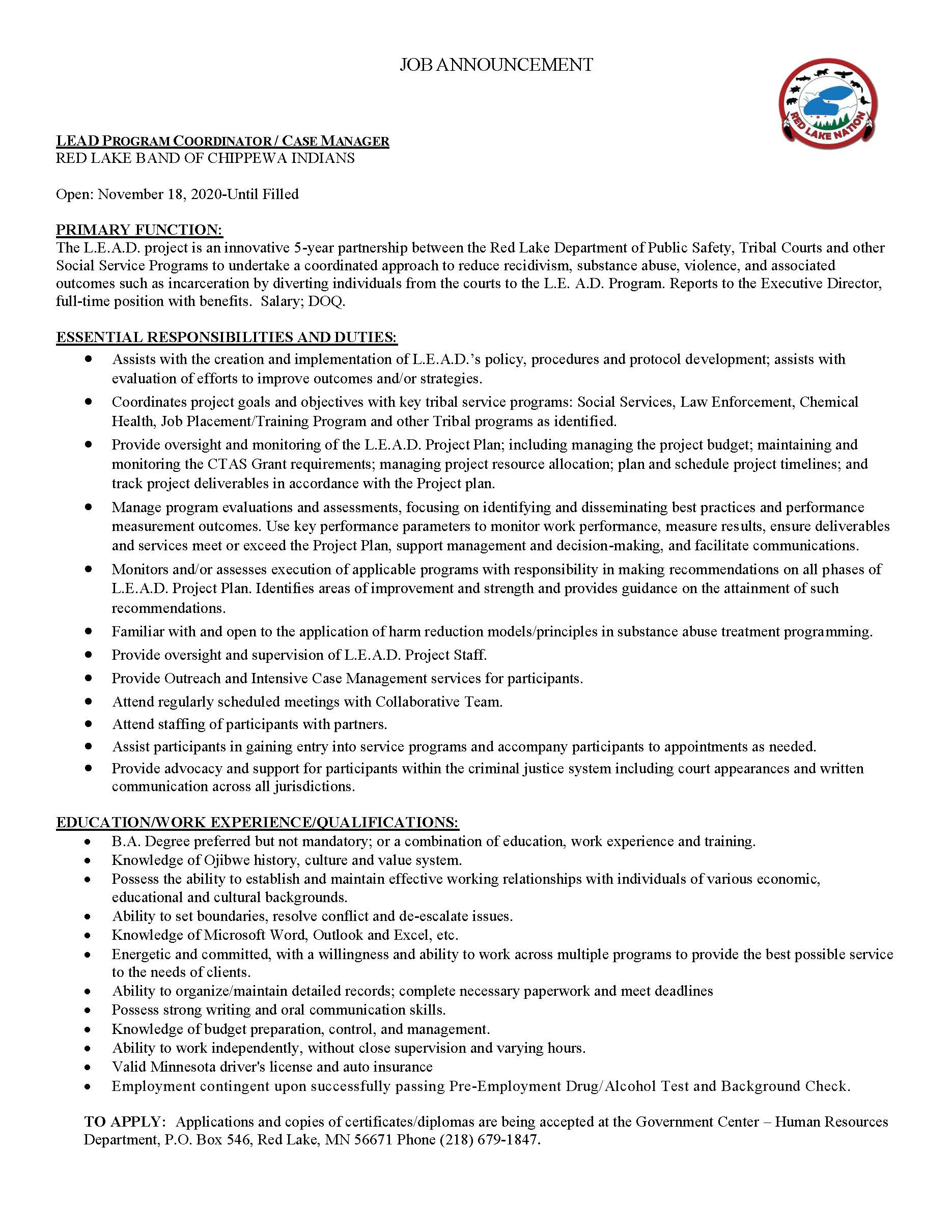 LEAD Program Coordinator Case Manager-Red Lake Band of Chippewa Indians-Job Posting 11-18-20