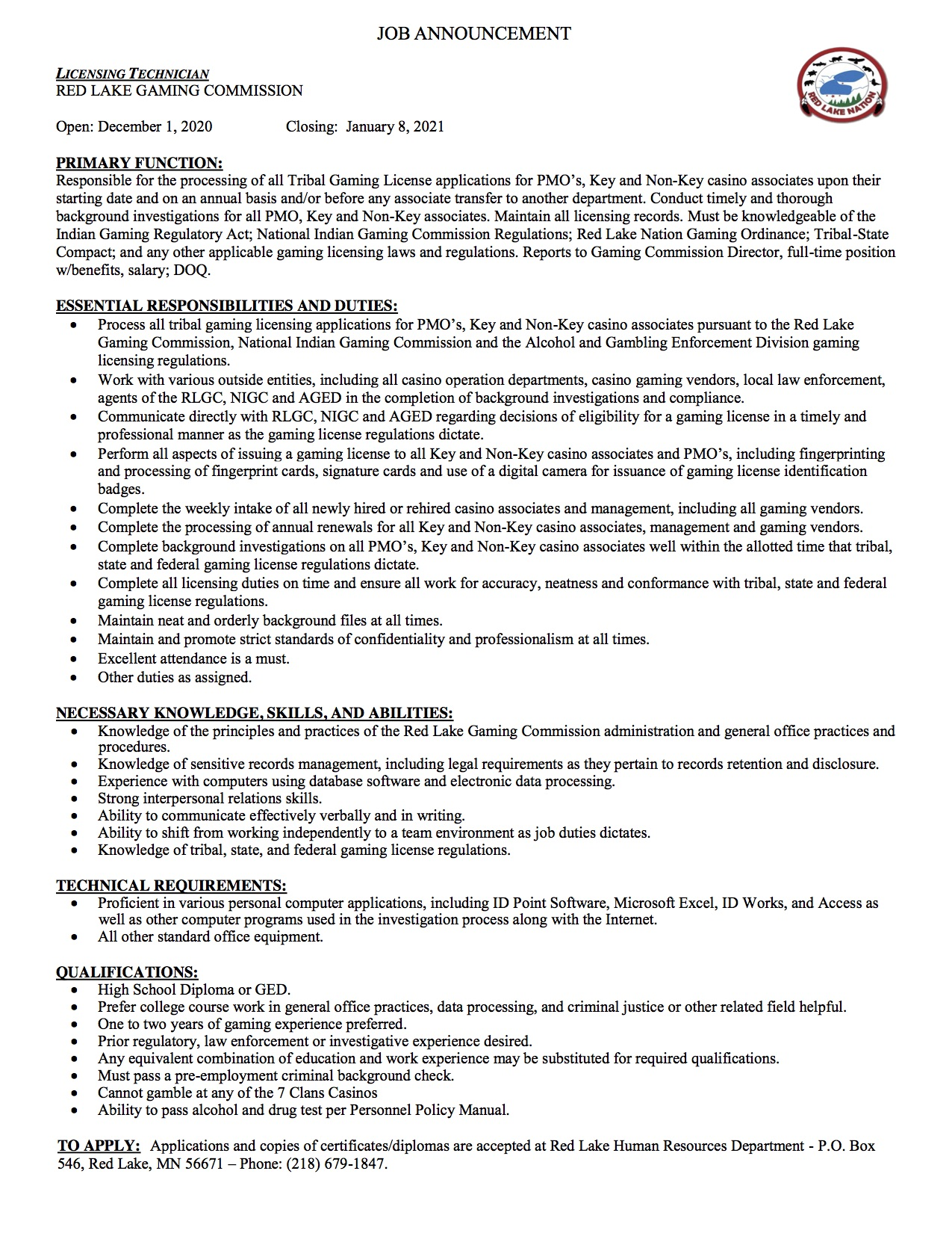 Licensing Technician-Gaming Commission Job Announcement-11-30-2020