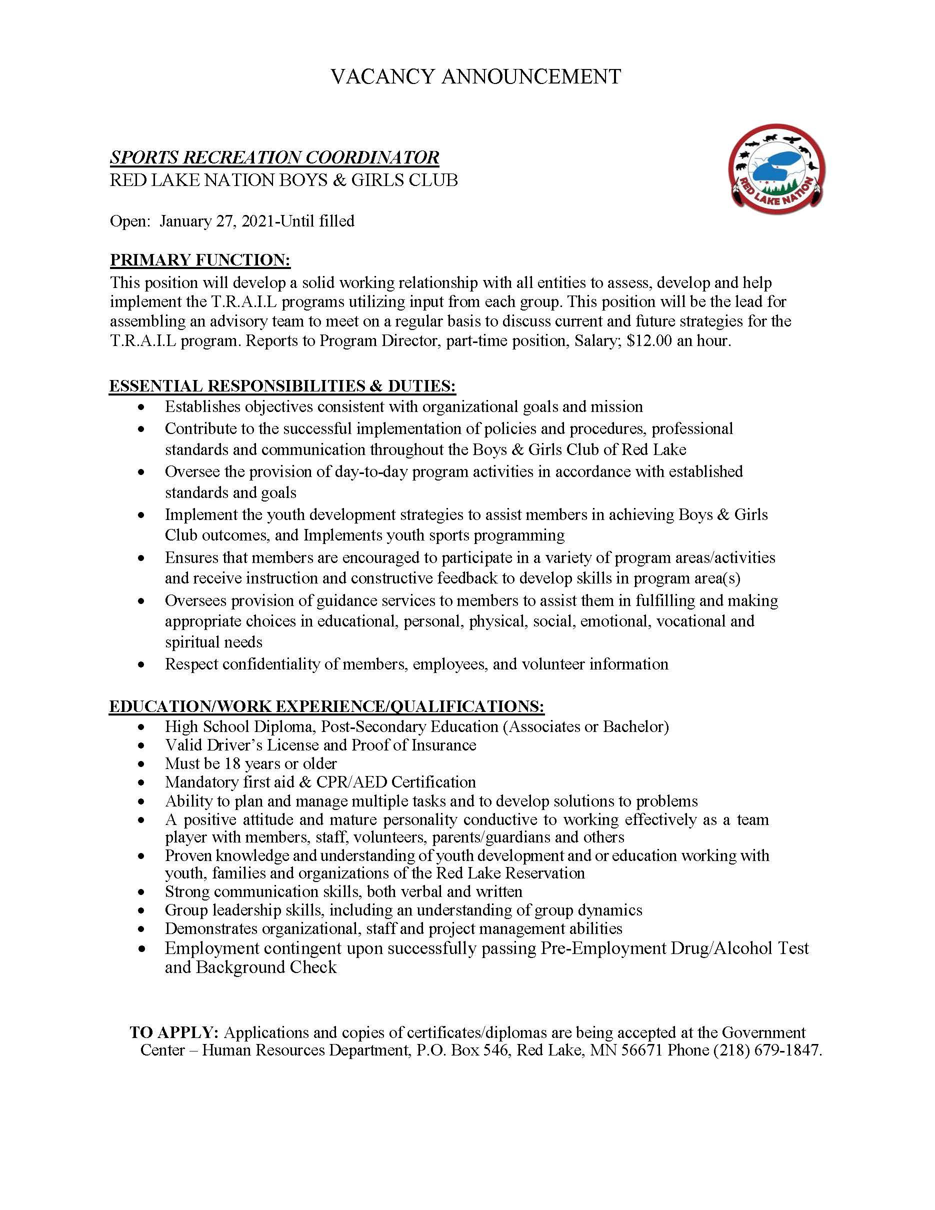 Sports Recreation Coordinator-Boys Girls Club-Job Announcement-1-27-2021