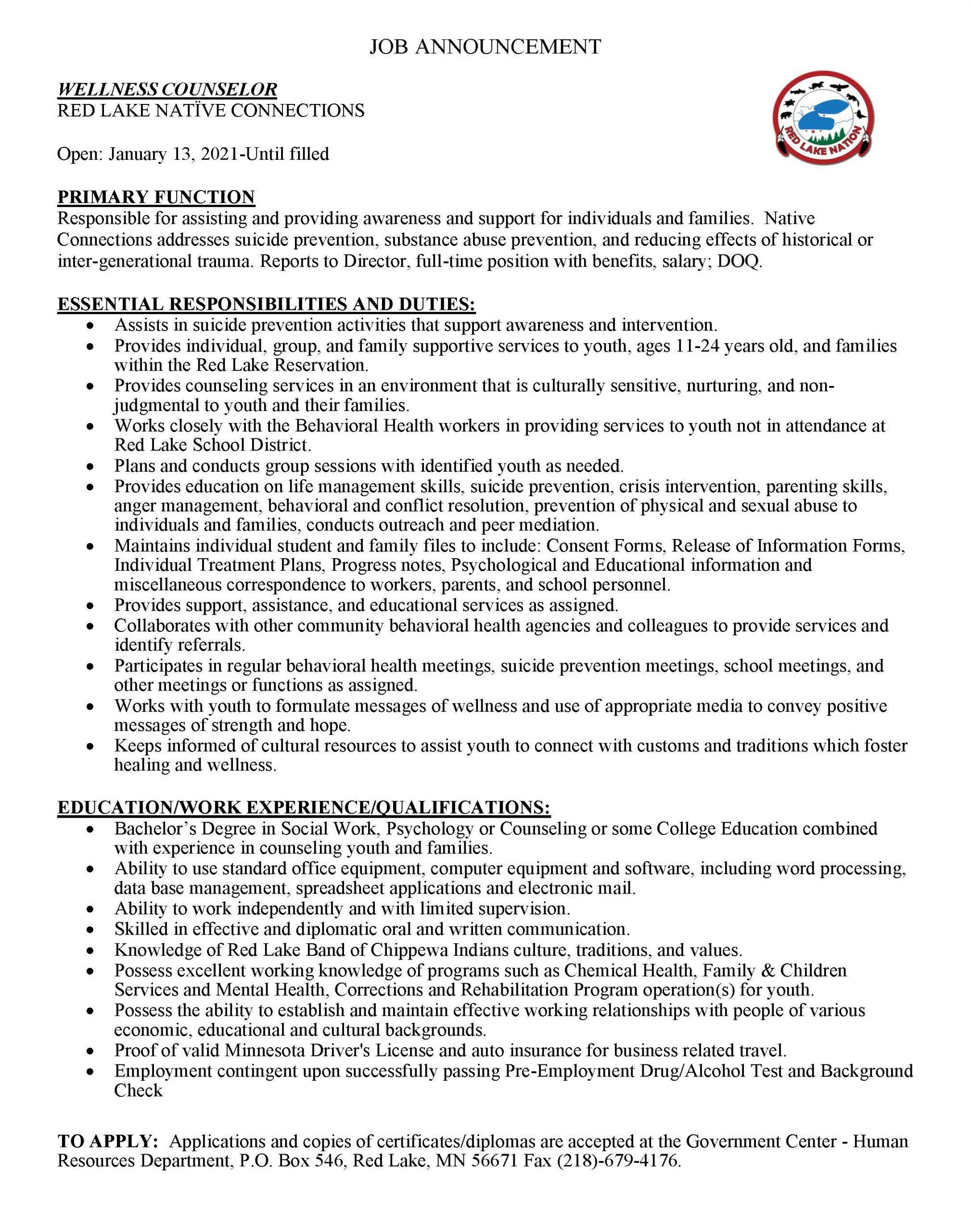 Wellness Counselor-RL Native Connections-Job Posting-1-13-2021 (1)