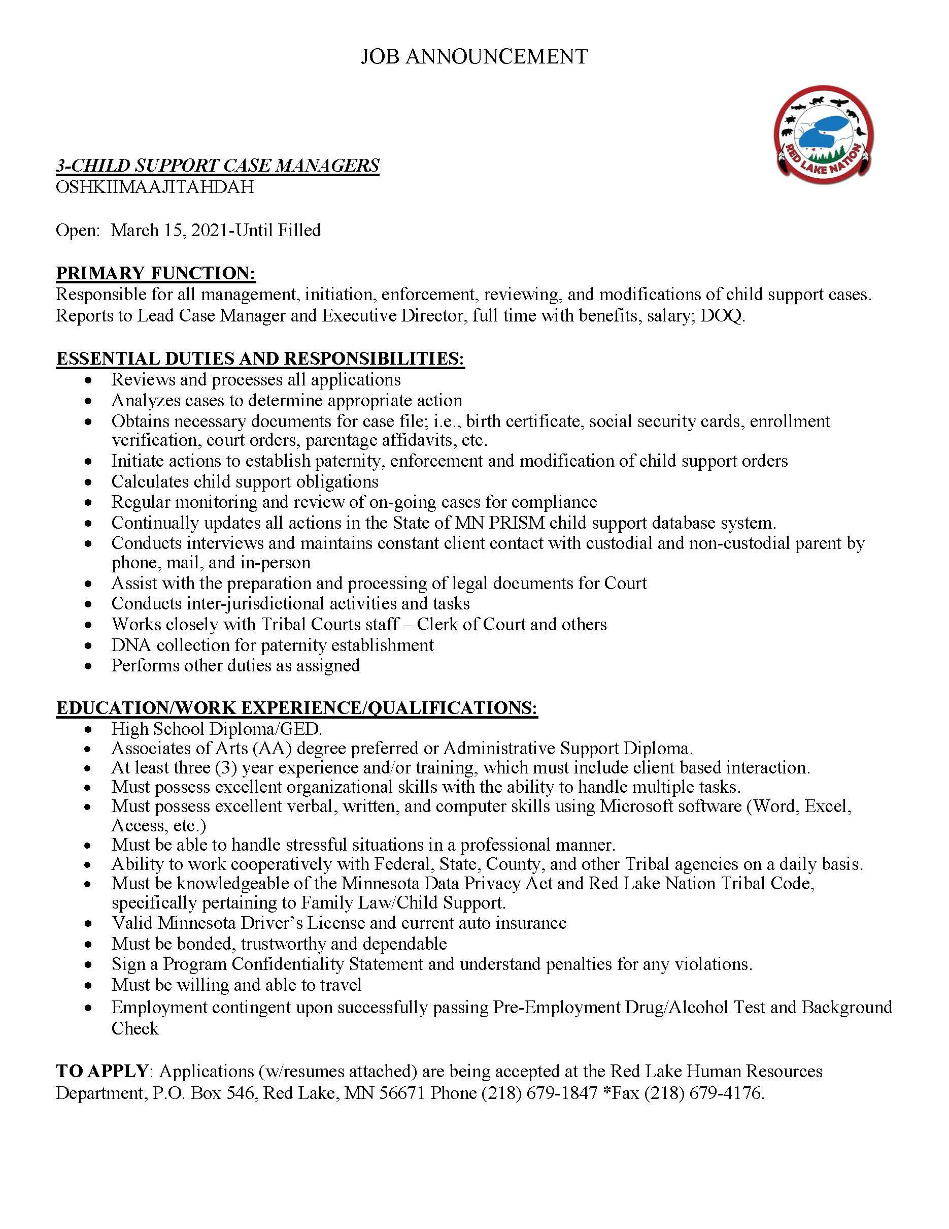 3 Child Support Case Managers-Oshkiimaajitahdah-3-12-2021