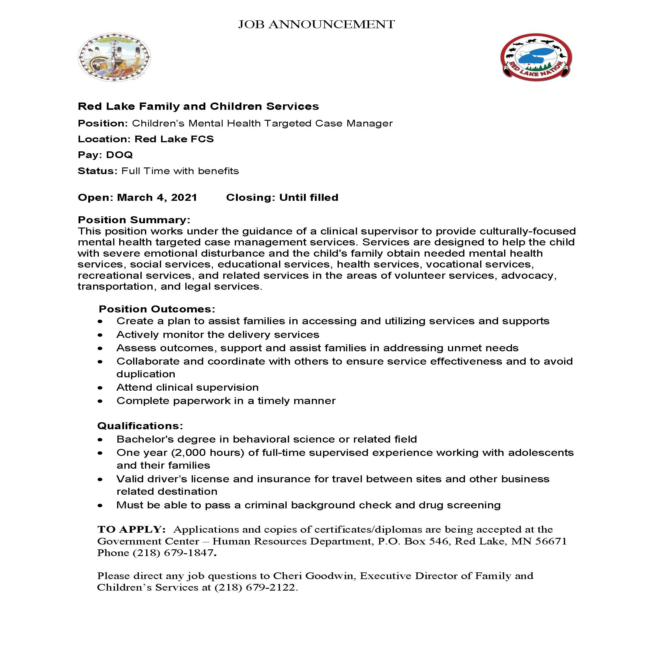 Childrens Mental Health Targeted Case Manager-FCS- Job Posting 3-4-2021