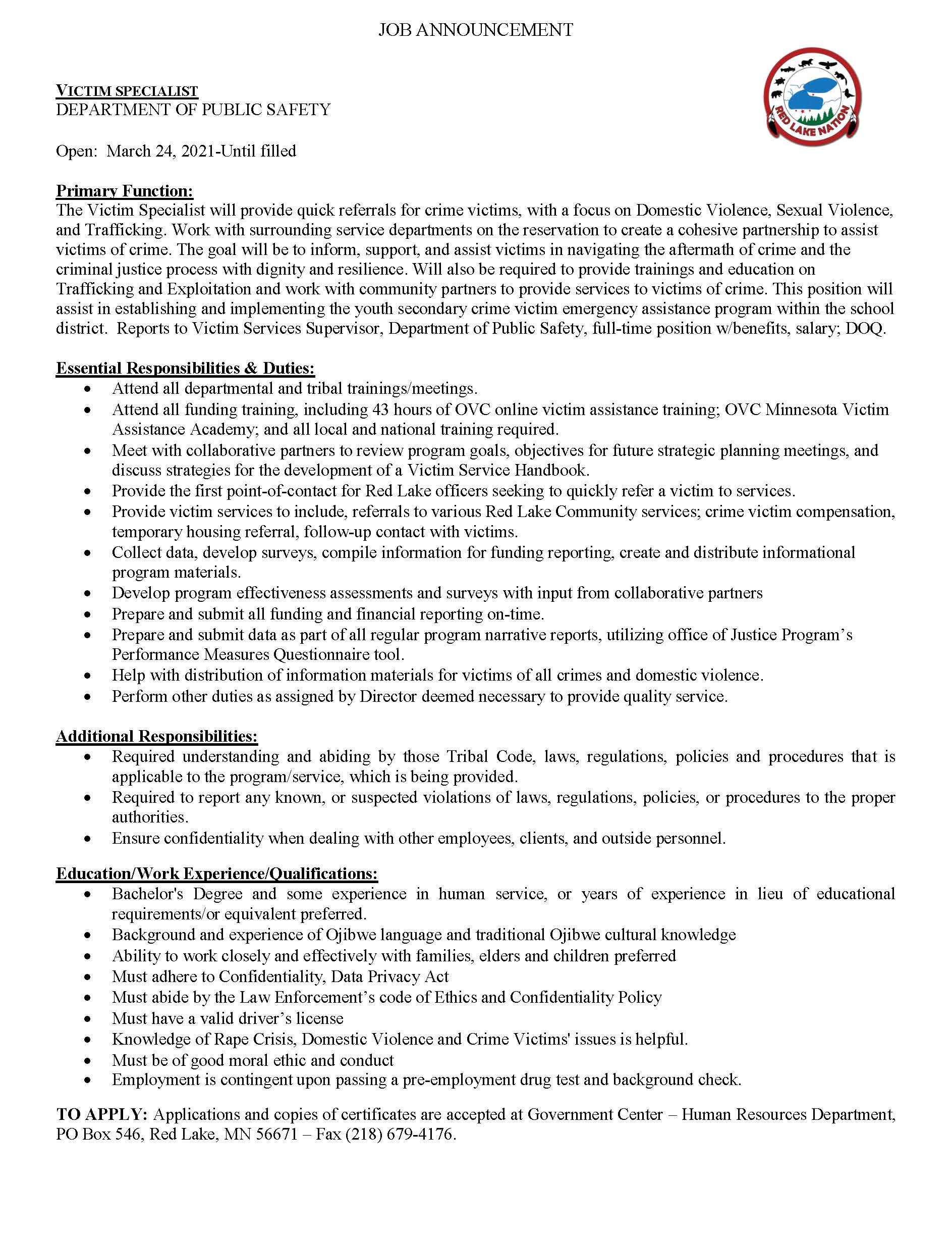 Victim Specialist-Department of Public Safety- Job Posting 3-23-2021
