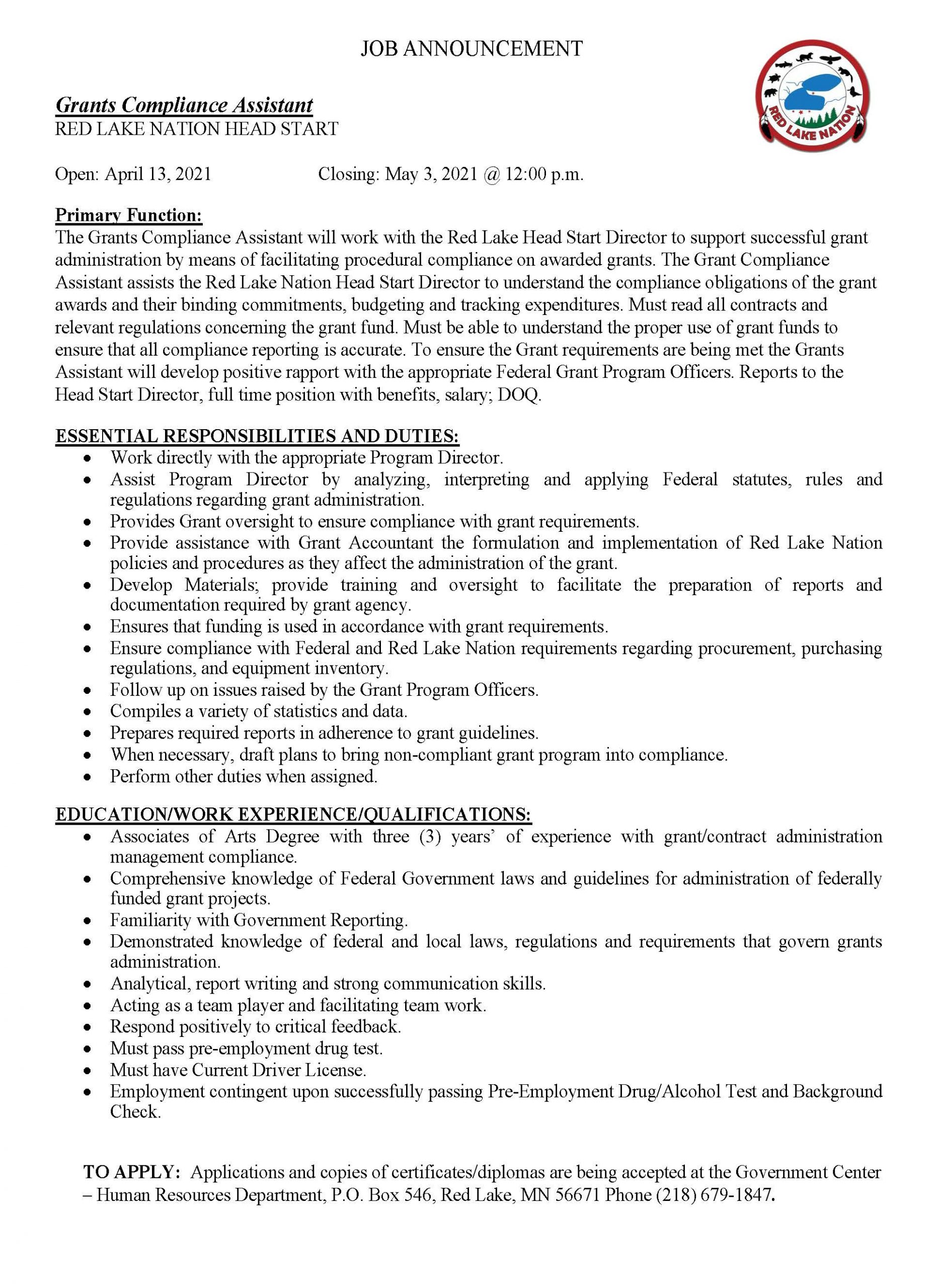 Grants Compliance Assistant-Head Start -Job Posting-4-12-2021