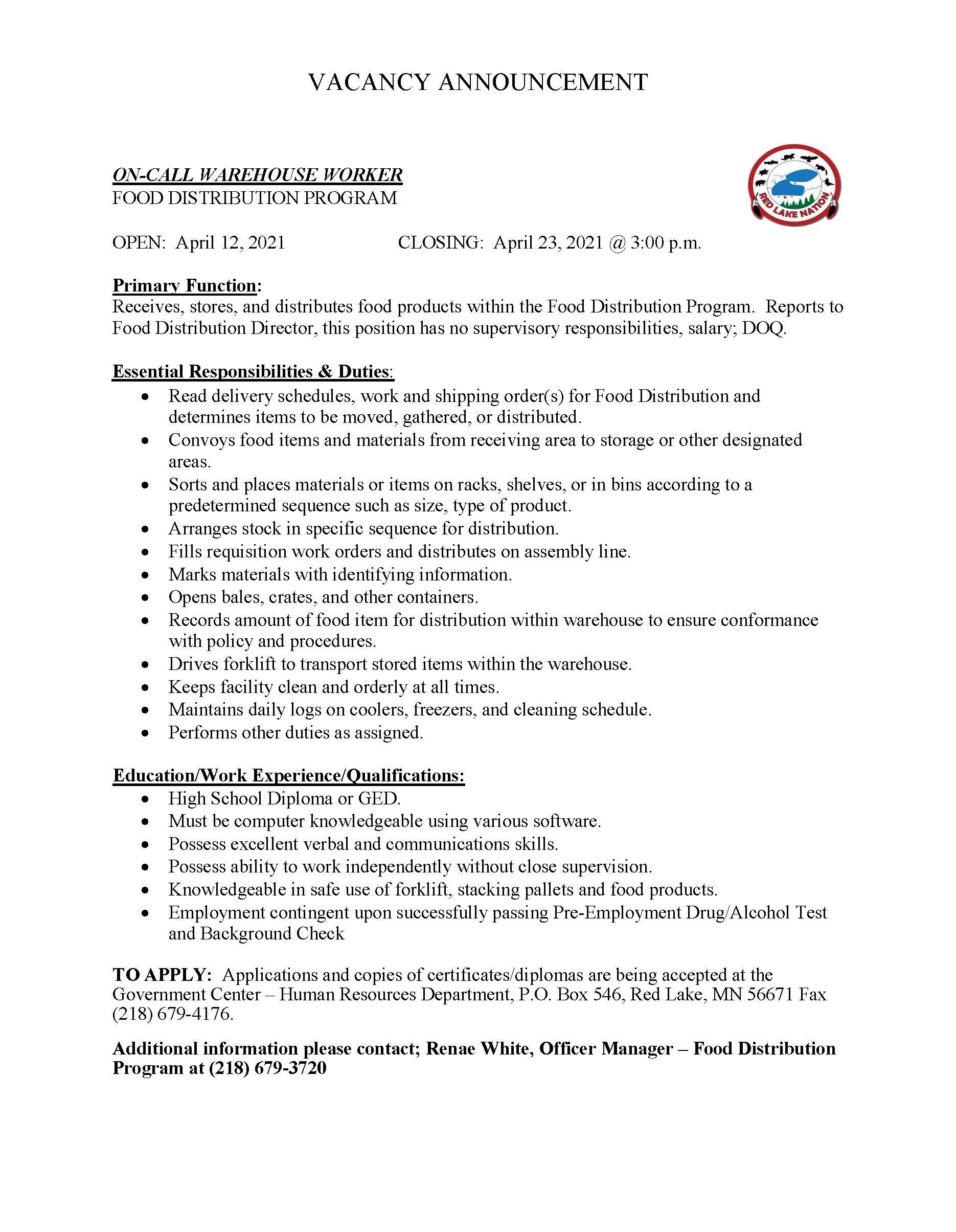 On Call Warehouse Worker-Food Distribution Program-Job Posting-4-12-2021