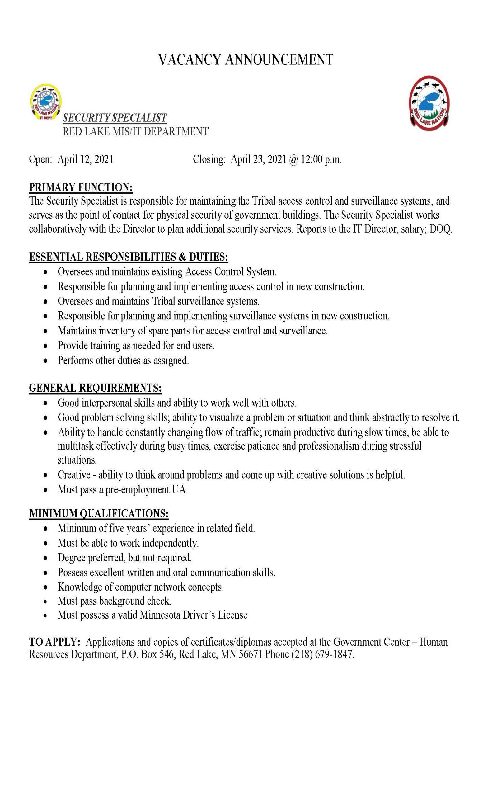 Security Specialist-MIS IT Department Job Posting-4-12-2021