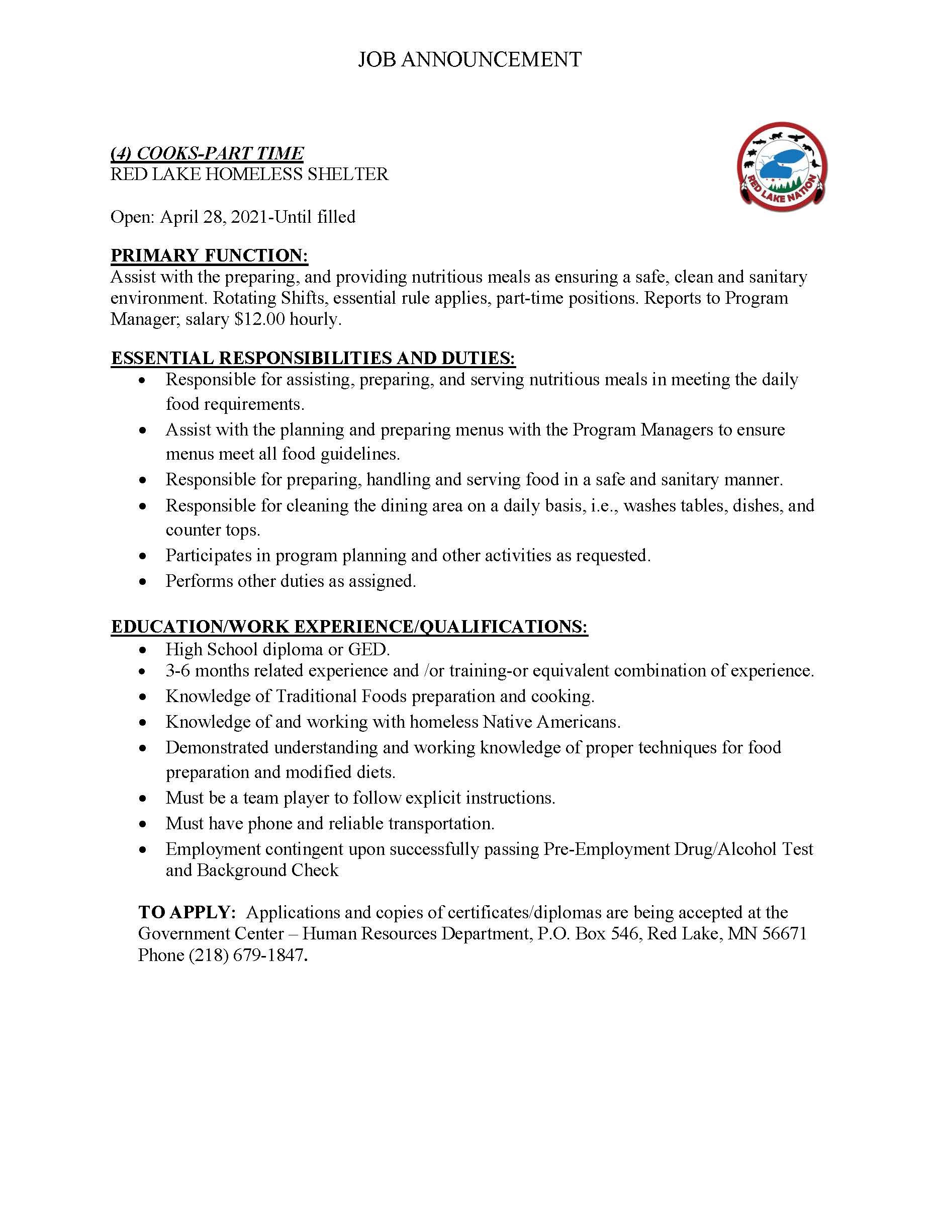 4-Part time Cooks-Homeless Shelter Job posting 4-28-2021