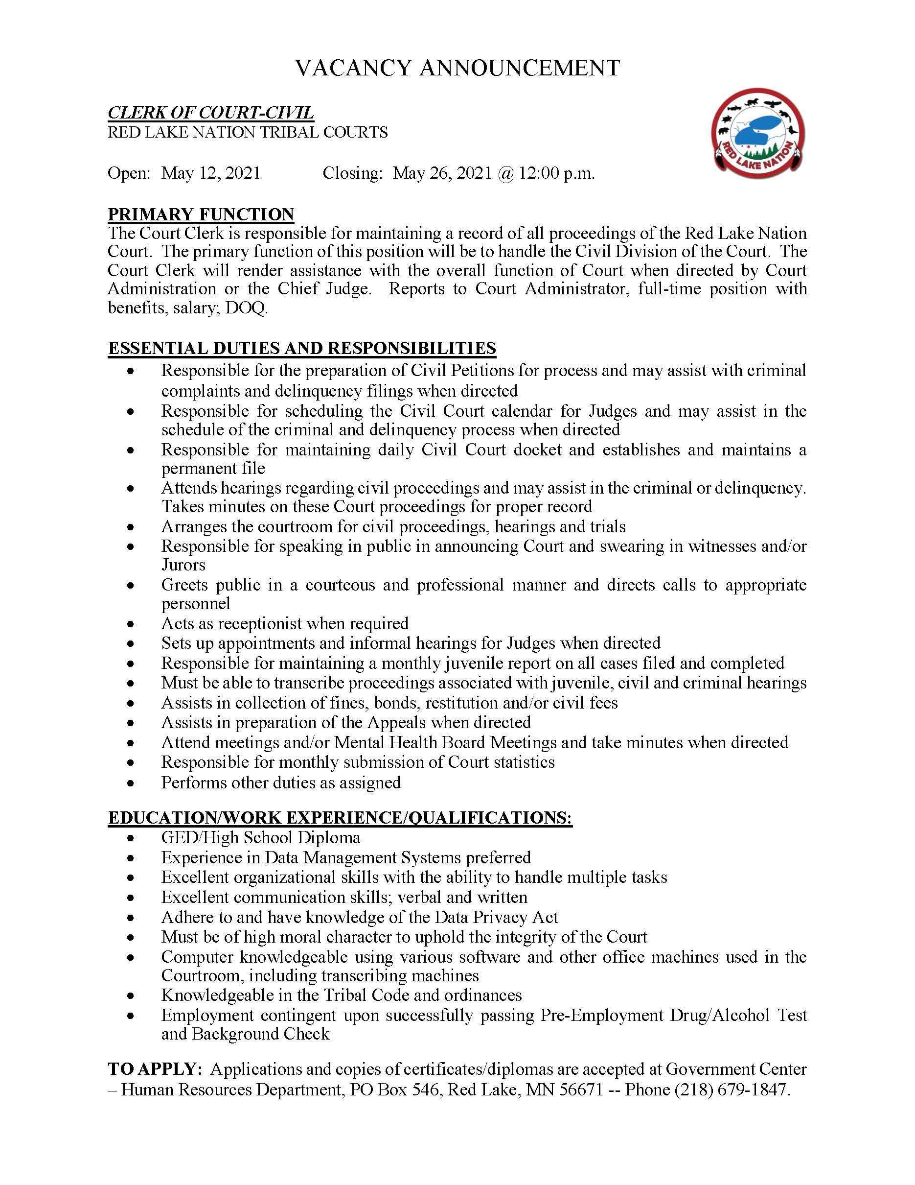 Clerk of Court Civil-Tribal Courts Job Posting 5-11-2021