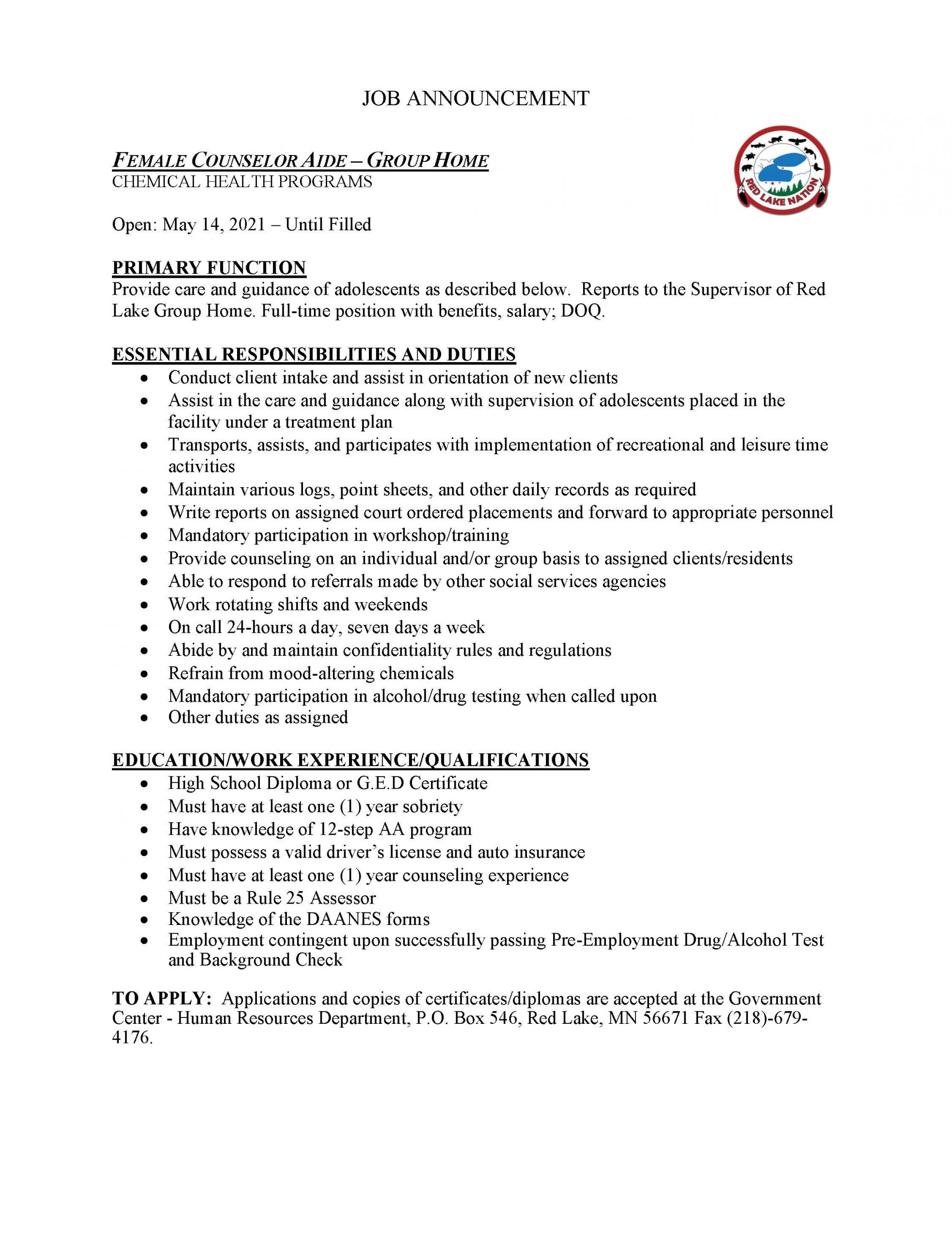 Female Counselor Aide-Group Home-Chemical Health Job Posting-5-13-2021
