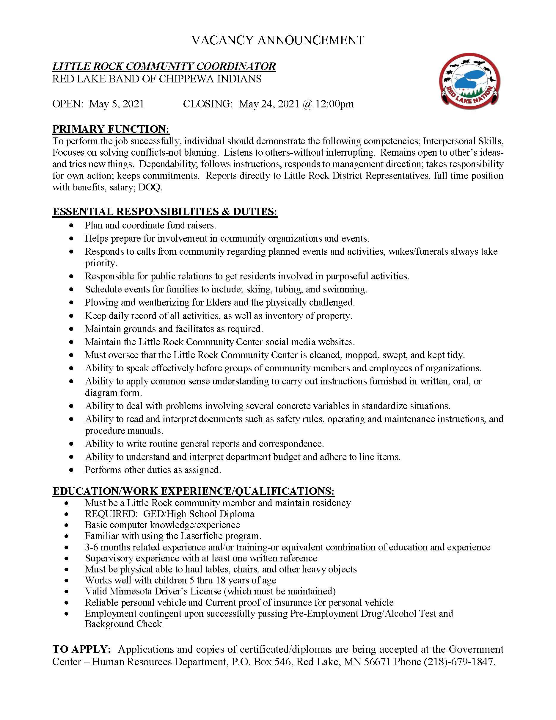 Little Rock Community Coordinator Job Description-5-4-2021