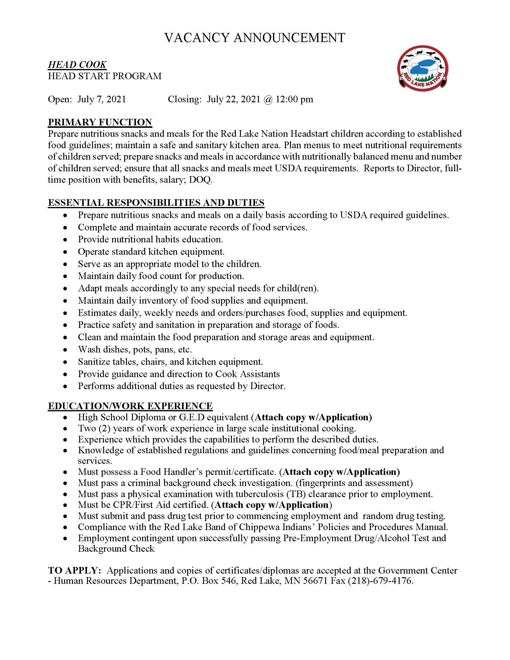 Head Cook-Head Start Program-Job posting-7-9-2021