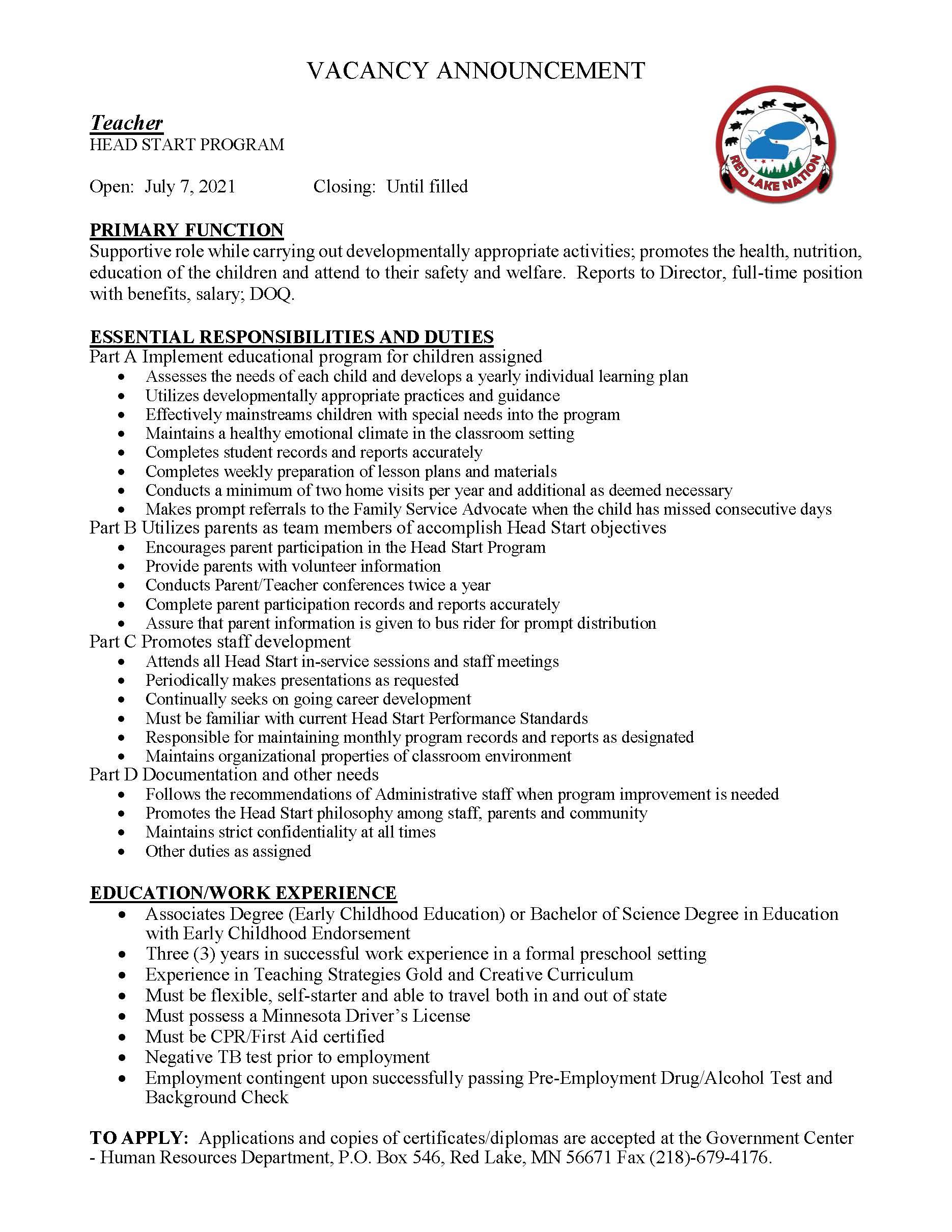Teacher-Head Start Program-Job posting-7-7-2021