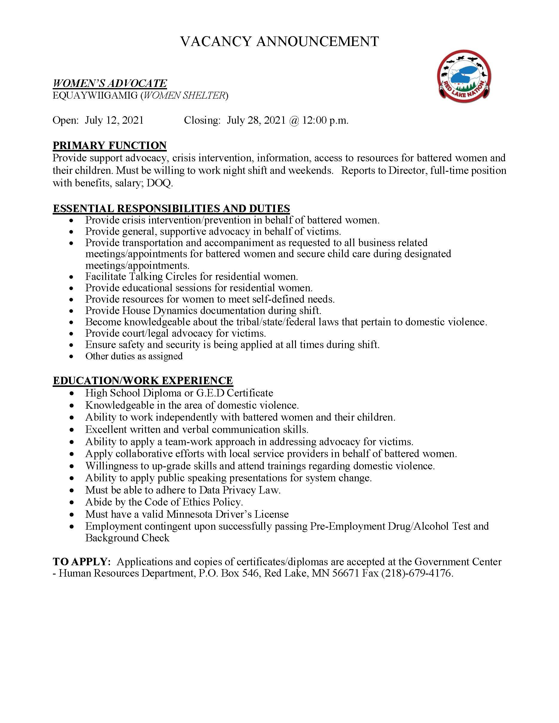 Womens Advocate-EquayWiigamig- Job Posting 7-9-2021