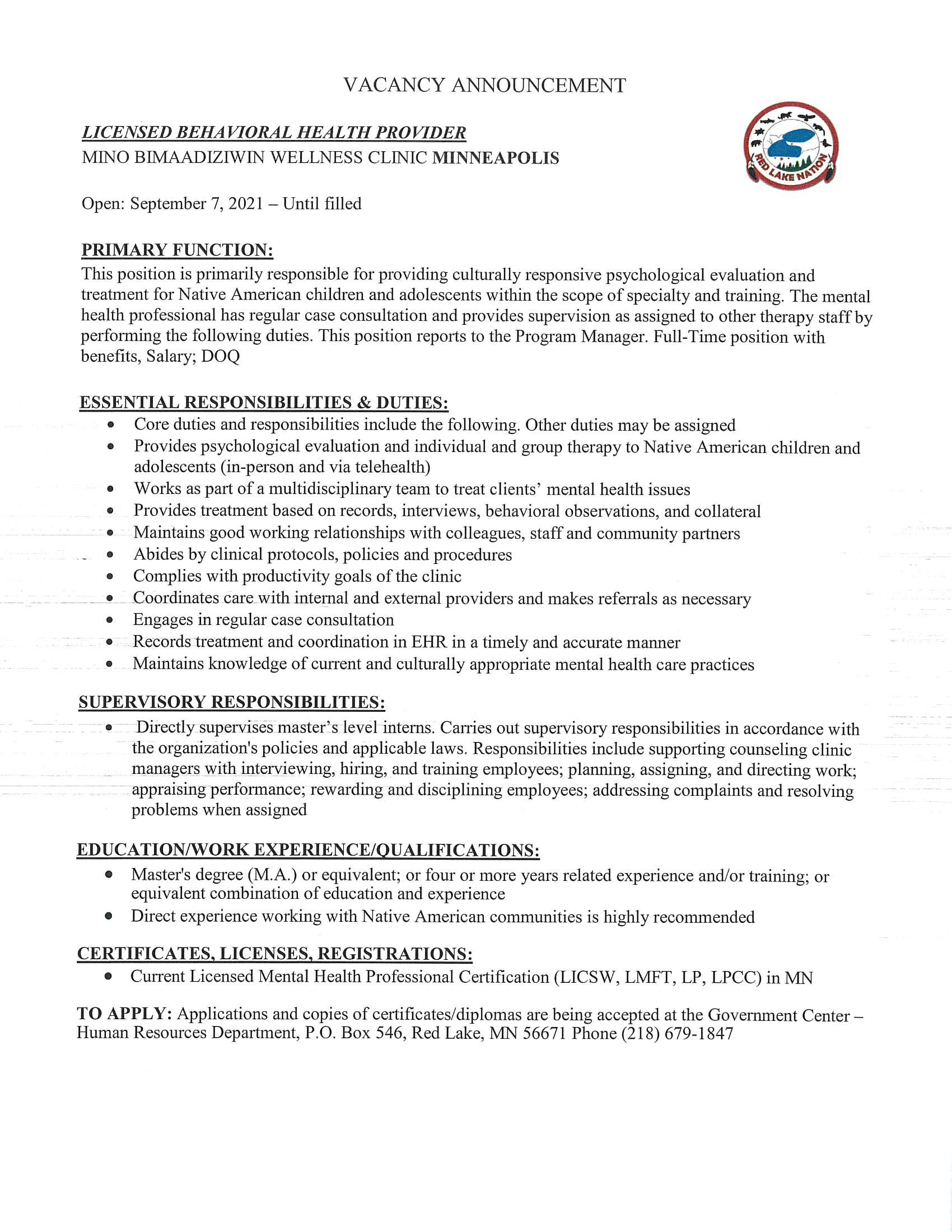 Mino Licensed behavioral health