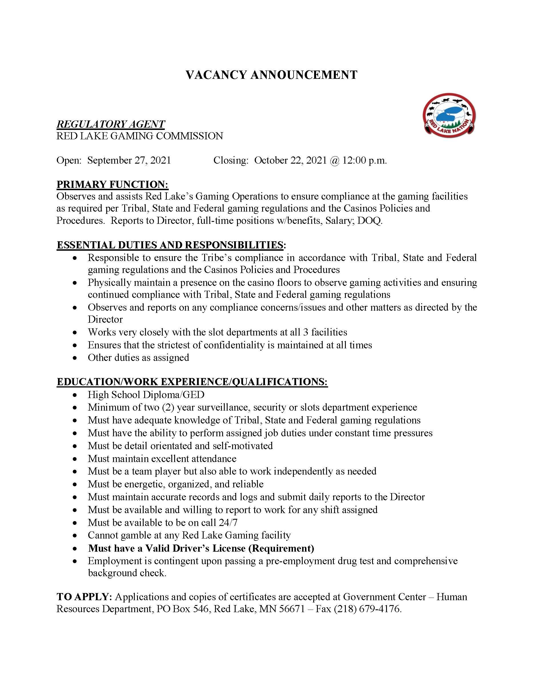 Regulatory Agent-Gaming Commission-Job Posting-9-28-2021